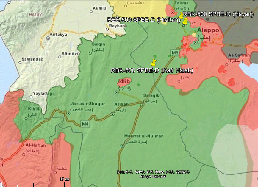 Red designates territories controlled by the Syrian government, green - rebel-controlled, black - ISIS-controlled, yellow - Kurd-controlled