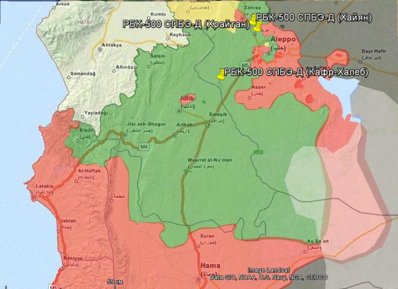 Красным обозначены территории под контролем сил Асада, зеленым - сирийской оппозиции, черным - «Исламского Государства», желтым - курдов