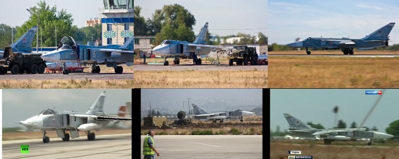 Бомбардировщики Су-24 на аэродроме Шагол (вверху) и на аэродроме Хмеймим (внизу)