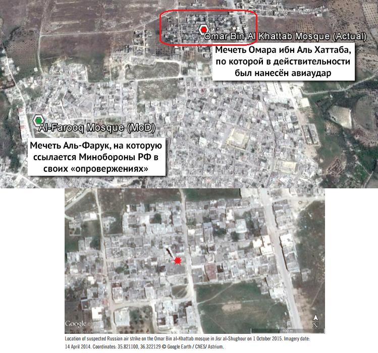 Вверху: схема из расследования Bellingcat и Conflict Intelligence Team; внизу: скриншот из доклада Amnesty International.