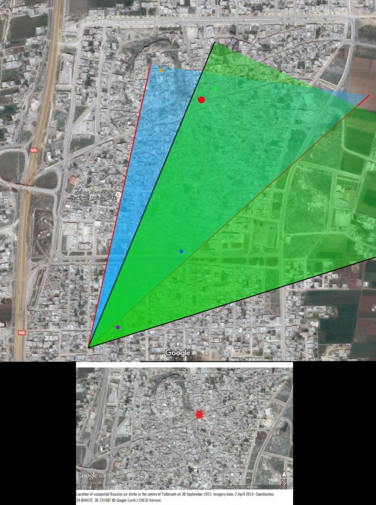 Top: Objects visible in the airstrike video, as geolocated by our team; bottom: screenshot from the Amnesty International report; airstrike site marked in red