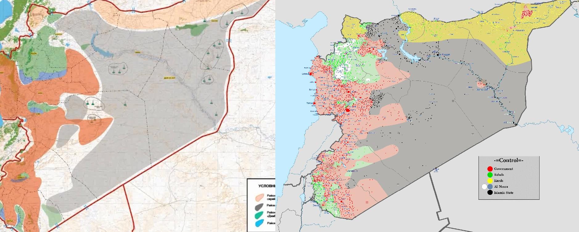 Слева — карта перемирия по версии Минобороны РФ, где территории «Джибхат ан-Нусра» обозначены зеленым. Справа — карта сирийского конфликта из Википедии, где территории «Нусры» обозначены белым.