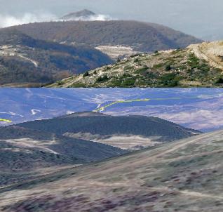 Кадр видео и модель рельефа в Google Earth, полученная с горы Наби-Юнис