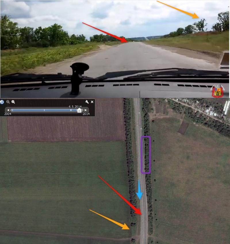 Положение автомобиля в 2015 году указано голубой стрелкой. Примерное положение Егора Русского в момент съемки видео обозначено фиолетовым.