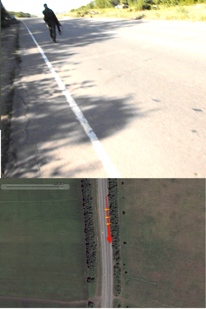Вверху: кадр с видео Егора Русского; внизу: спутниковый снимок, на котором красным обозначено направления взгляда Егора Русского, а оранжевым - направления теней деревьев.