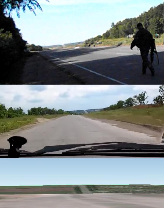 Сверху вниз: пейзаж на видео Русского, пейзаж на видео из автомобиля, движущегося на юг по маршруту Счастье-Луганск, пейзаж, полученный с помощью 3D-модели рельефа Google Earth направлением камеры на юг с места съемки видео Егора Русского