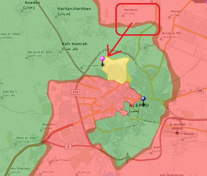 Карта по состоянию на 1 апреля. Примерное место съемки видео выделено красным, примерное направление наступления отмечено красной стрелкой.