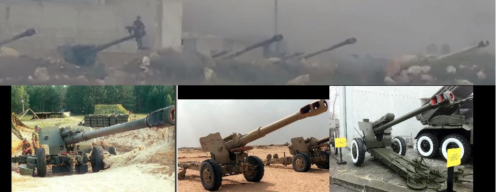 Вверху: кадр с видео применения ПТУРа; внизу слева: гаубица «Мста-Б»; внизу в центре: гаубица «Д-20»; внизу справа: гаубица «Д-30»