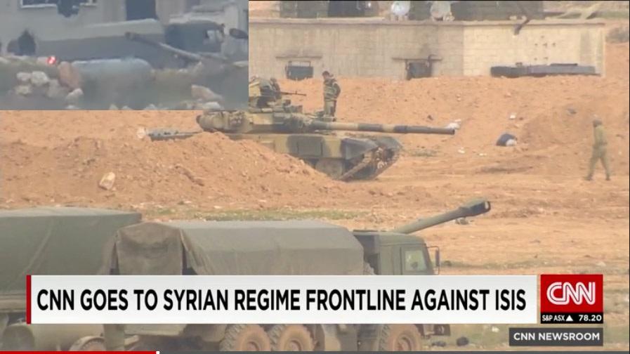 Кадр из репортажа CNN; слева вверху: кадр из видео применения ПТУРа