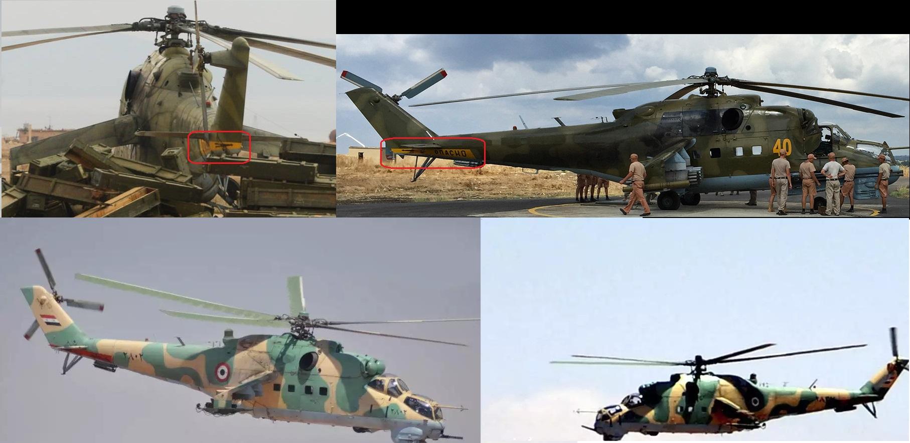 Cлева вверху: вертолет Ми-24 на авиабазе Т4; справа вверху: Ми-24 ВКС РФ на авиабазе Хмеймим (источник); внизу: вертолеты Ми-25 (экспортный вариант Ми-24) ВВС САР (источник)