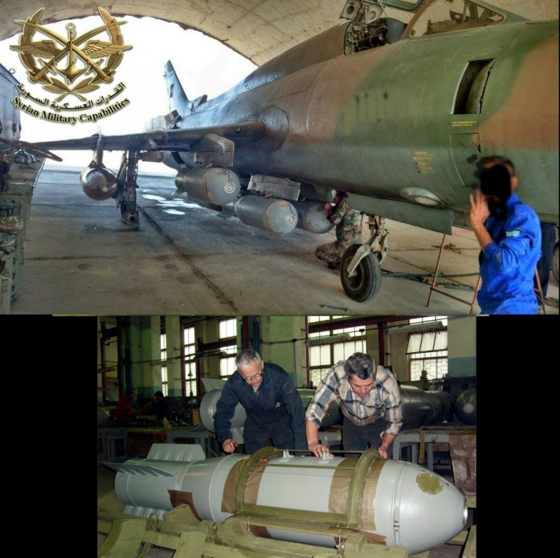 Вверху: сирийский Су-22 с бомбами под крылом; внизу: авиабомба ОДАБ-500ПМВ