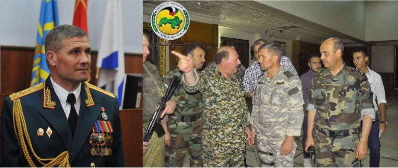 Слева — генерал-майор Севрюков принимает командование 49-й общевойсковой армией (фото «КП»); справа — он же в окружении командиров «Бригад Баас»
